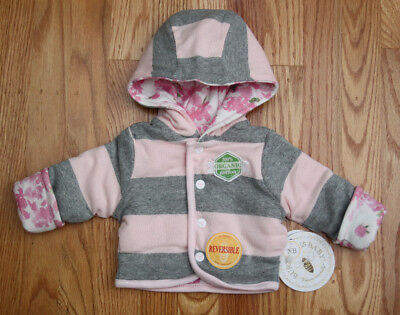 Gray /& White ~Floral Print Burt/'s Bees Baby Girl Hooded Reversible Jacket ~Pink