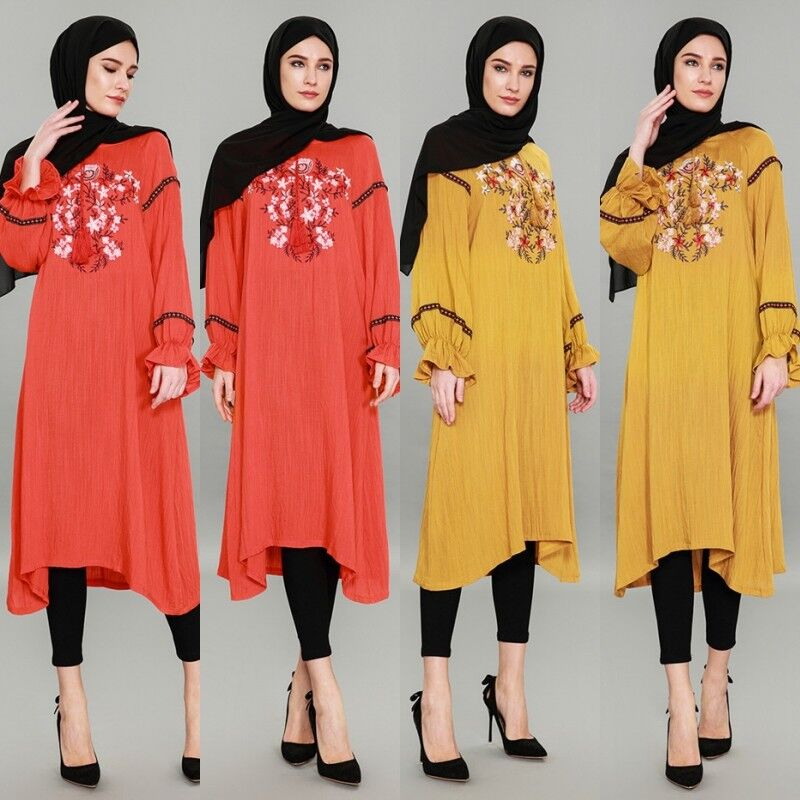 Women Linen Ethnic Embroidery Dress Vintage Robe Gown Muslim Moroccan Maxi Abaya