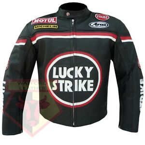LUCKY-STRIKE-0113-BLACK-MOTORBIKE-COWHIDE-LEATHER-MOTORCYCLE-ARMOURED-JACKET