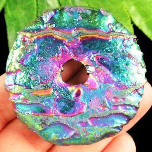 25Pcs 18x8x5mm Carved White Rainbow Titanium Crystal Leaf Pendant 21g A-255SJ