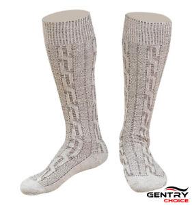 Men Oktoberfest Outfit Bavarian Socks Long Rustic Grey Brown