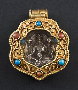 Tara a Sospensione Gau Bodhisattva Amuleto Tibetano Filigrana Nepal 26502