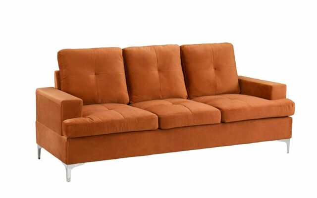 Groovy Upholstered Mid Century Couch 77 9 Inch Velvet Sofa With Tufted Seats Rust Ocoug Best Dining Table And Chair Ideas Images Ocougorg