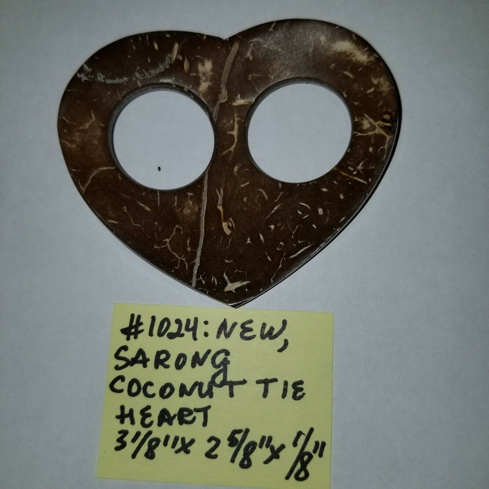 #1024 NWOT RARE Coconut Handcarved Sarong Tie Heart One of a Kind OBO