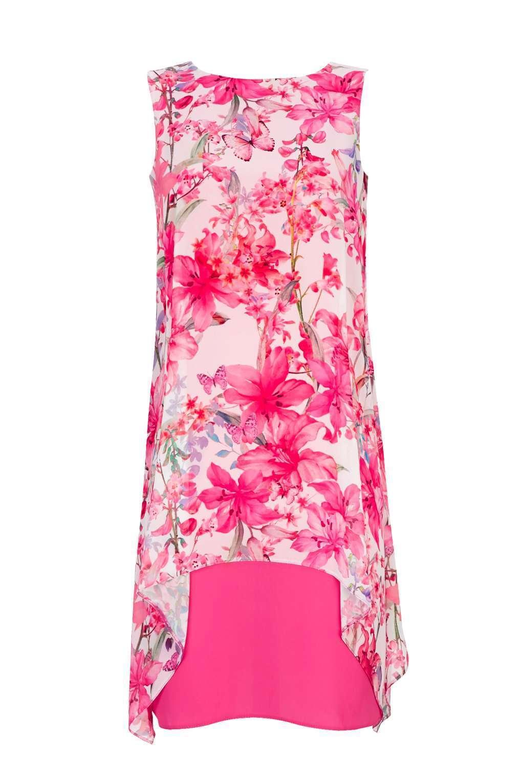 Wallis Multi Pink Butterfly Overlay Dress 14