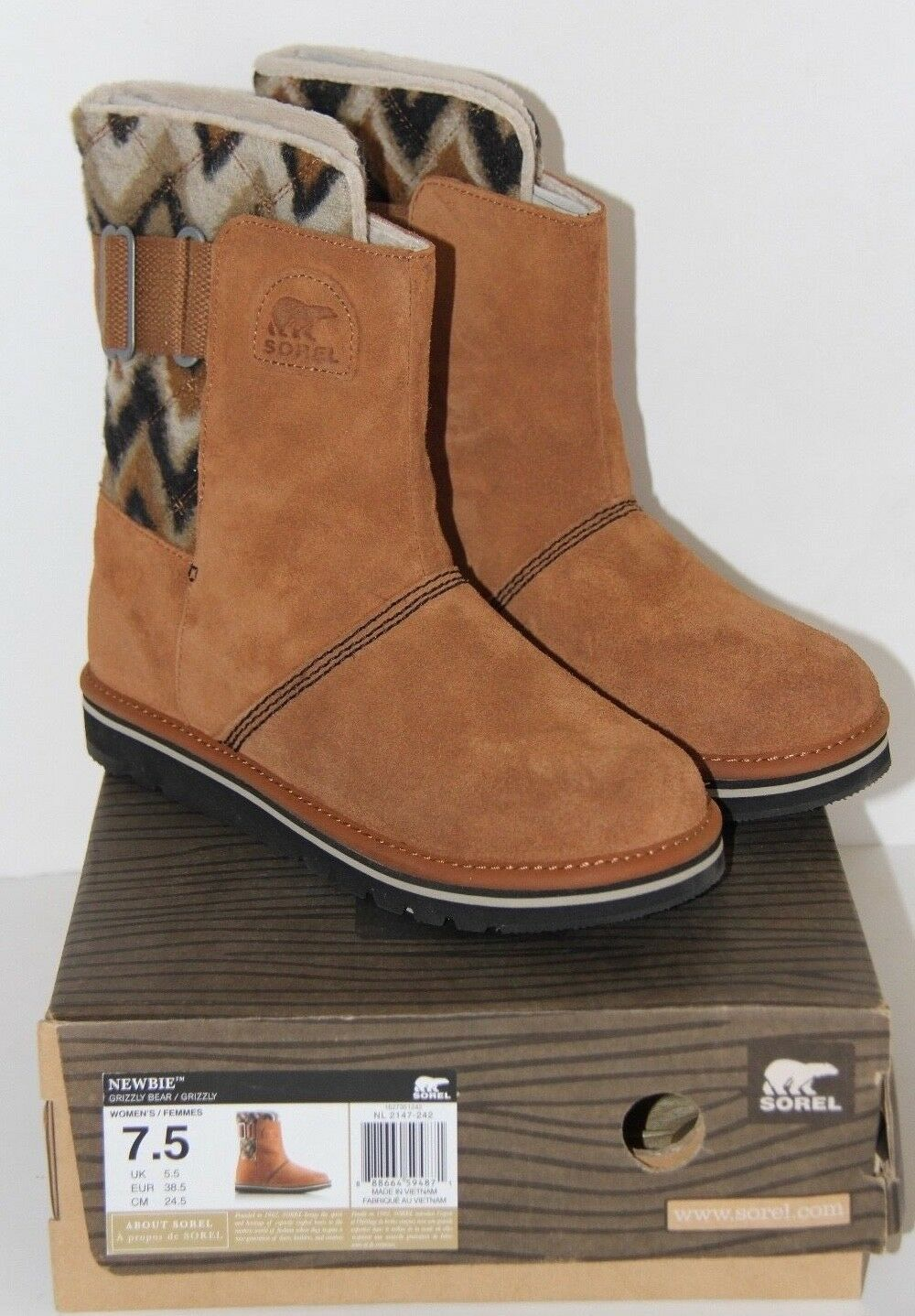 SOREL Women's Newbie Chevron Leather Suede Campus Boot - Grizzly Bear - 7.5 NEW