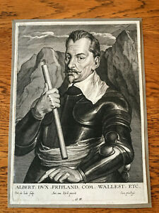 Pieter-de-Jode-ORIGINAL-ENGRAVING-of-Van-Dyck-039-s-portrait-of-Albert-Wallenstein