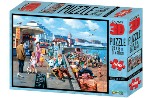 500-Piece Kevin Walsh Beside the Seaside Super 3D Effect Puzzles