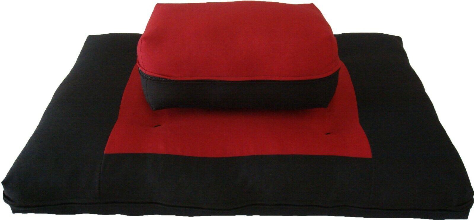 Zafu Zabuton Set, Relaxing Yoga Meditation Cotton Cushions, Mats Black/Red