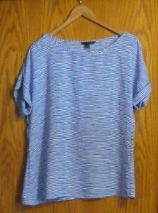 Banana-Republic-women-039-s-Medium-blue-white-striped-short-sleeve-loose-dress-shirt