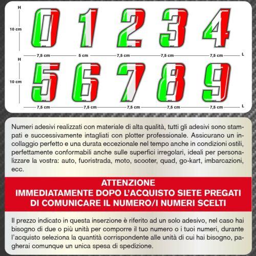 Adesivi Stickers NUMERO GARA NUMERI TRICOLORE Moto Auto Go Kart Quad Barca Tir