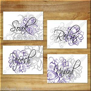 Purple And Gray Wall Art Bathroom Floral Prints Picture Decor Relax