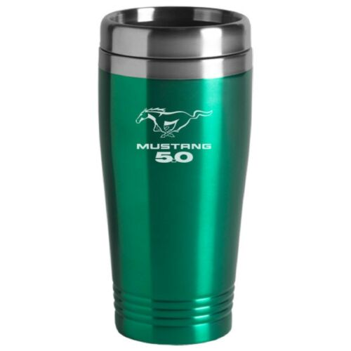 Ford Mustang 5.0 Cobra SVT GT Mach 1 Green Travel Mug Cup Stainless Liner