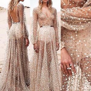 Women-Summer-Sequins-Long-Maxi-Evening-Party-Dress-Beach-Dresses-Sundress-AU