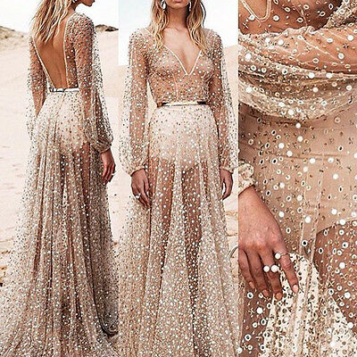 Women Summer Sequins Long Maxi Evening Party Dress Beach Dresses Sundress ZXY