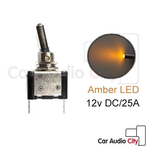 Illuminated Amber Car Van 12V 20A LED Missile Style Toggle Flick Switch ON - OFF