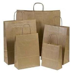 Brown Paper Carrier Bags with Twisted Handles 18cm x 22cm x 8cm Choose Quantity