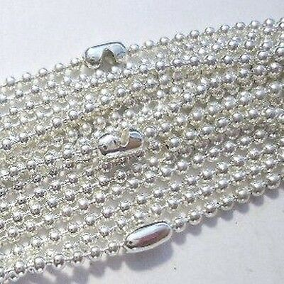 10 Silver Plated 1.5mm ball Chain Necklaces - 18 inch lenght - A5482