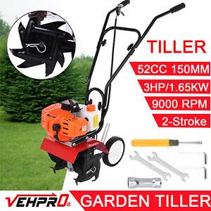 52cc Garden Tiller 3HP 2-Stroke Engine Rototiller Petrol Cultivator Lawn yard