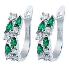 925 Sterling Silver Earrings Emerald Gemstone Stud Hoop Earrings - SALE!