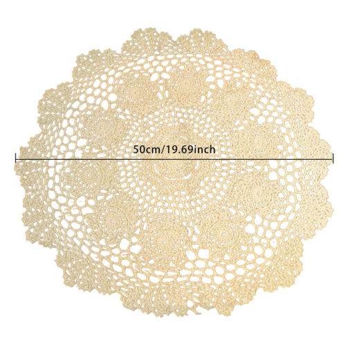 20in Round Hand Crochet Tablecloth Vintage Cotton Lace Doilies Floral Table Mats
