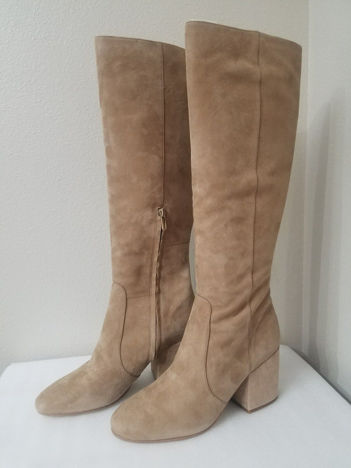 Sam Edelman Thora Oatmeal Suede Leather Tall Boots 9.5M