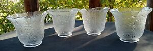 Vintage-Victorian-Set-of-4-Embossed-Textured-Clear-Glass-Light-Shades-Beaded-Rim