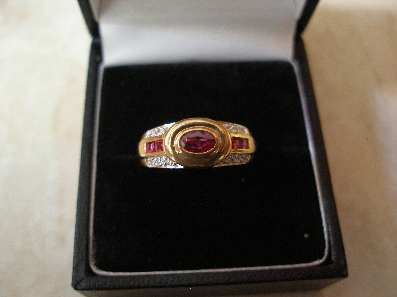 9 CARAT gold RUBY & DIAMOND SET FANCY RING MADE IN ENGLAND BRAND NEW IN BOX