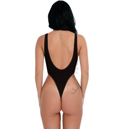 Womens One Piece Thongs Bodysuit High Cut Sheer Mesh Leotard Lingerie Jumpsuit