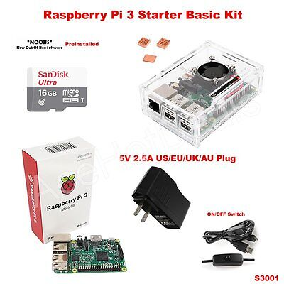 // Heat Sink with Aus,Euro,UK,US Plug Raspberry Pi 3 Case with Fan//Power Adapter