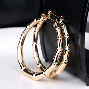 Women-Vintage-Punk-Gold-Bamboo-Big-Hoop-Large-Round-Circle-Earrings-Jewelry-New