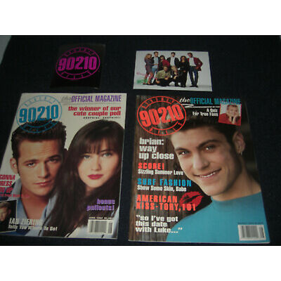 Beverly Hills 90210 Official 1992 Magazines  Sticker & Post Card  Luke Perry