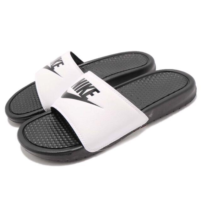 f801d9e20367 Nike Benassi JDI LOGO White Black Men Sports Sandal Slides Slippers  343880-100