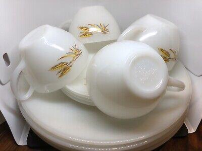 milk glass saucers Set of 7 Fire king wheat design