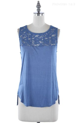 Sleeveless Solid Tank Top with Lace Inset and Back Keyhole Casual Rayon S M L