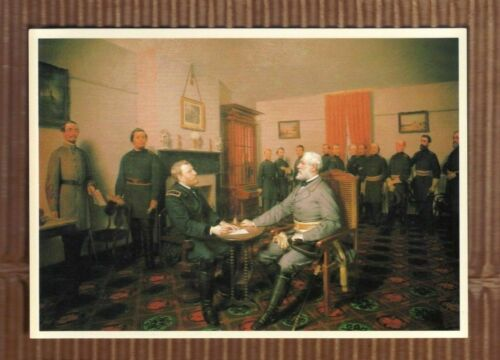 Lee surrenders to Grant Appomattox VA  Old Picture Postcard Guillaume Painting