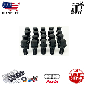 20PC BLACK 14X1.5 BALL SEAT LUG BOLTS 40MM FIT AUDI 1.57INCH