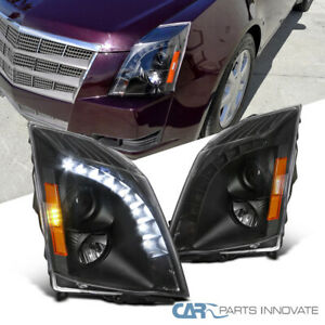 For-2008-2014-CTS-Black-SMD-LED-DRL-Strip-Projector-Headlights-Head-Lamps-Pair