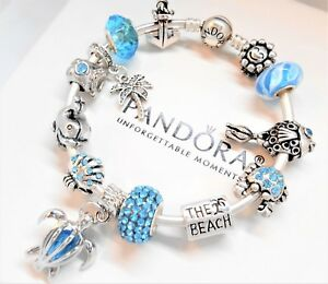 Image Is Loading Authentic Pandora Silver Charm Bracelet Beach Vacation Turtle