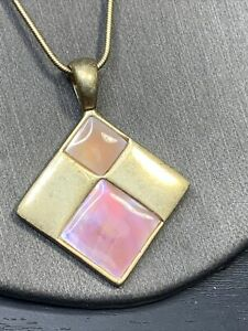 """Vintage Necklace Matte Gold Pink Abalone Abalone Lia Sophia  16""""- 18"""""""