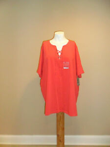 Catherines-Women-039-s-plus-V-neck-Lace-up-2Fer-Short-Sleeve-Top-Coral-3X-26-28w-NEW