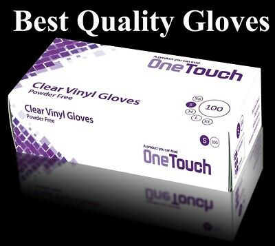 Box of 100 Medical Exam Grade-Clear Vinyl Powder Free Disposable Gloves AQL 1.5 Size Small