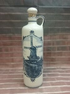 Delft Delft Blue Decanter Jug With Cork Stopper Windmill Blue White Made In Holland