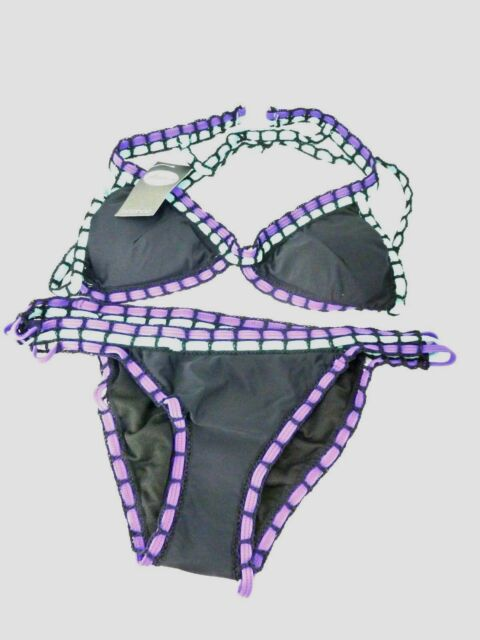43f07957eeef Boohoo Boutique Crochet Colour Pop Triangle Bikini Black Size 10 Ls079 AA 10  | eBay