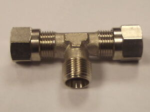 1/4 Bsp male centre Tee x 8mm Compression Fitting Tee for Air or Fluids 5055752926677