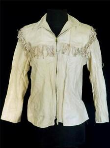 RARE-VINTAGE-EARLY-1950-039-S-WOMAN-039-S-CREAM-DEERSKIN-LEATHER-FRINGE-JACKET-SIZE-SM