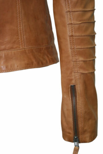 /'RIDER/' Ladies TAN WASHED Biker Motorcycle Style Soft Real Nappa Leather Jacket
