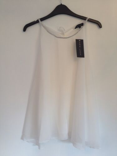 Sleeveless Uk Sheer New With Ladies Floaty Ivory Look Diamonte 10 Bnwt White Top AW4Yxnca