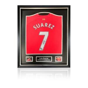 48f9e8111 Luis Suarez Back Signed Liverpool 2013-14 Home Shirt in Deluxe ...