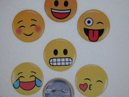 48 EMOJI Themed PINS mini button pins emoticon yellow face emotions yellow icon